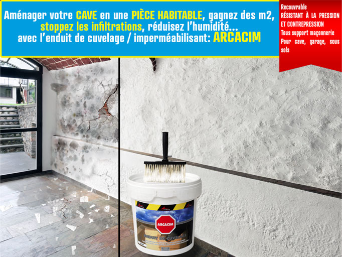 Enduit cave hydrofuge tanch it cuvelage garage mur for Infiltration eau garage