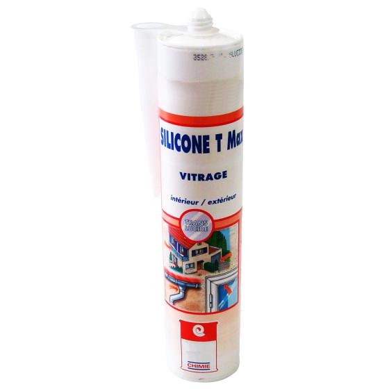 MASTIC SILICONE T MAX - Mastic verre aluminium silicone translucide type acétique fongicide céramique