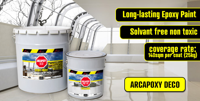 Epoxy Paint Arcapoxy Deco for all living room, basement, loft, kitchen, bedroom, living room floors